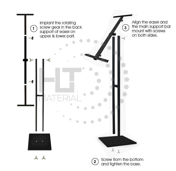 ADJUSTABLE ROTATING POSTER STAND 3