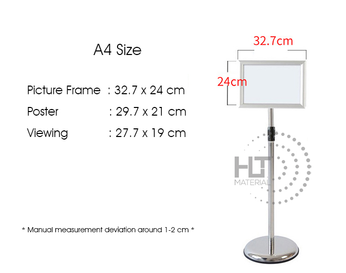 STAINLESS STEEL A4 DISPLAY STAND 9A